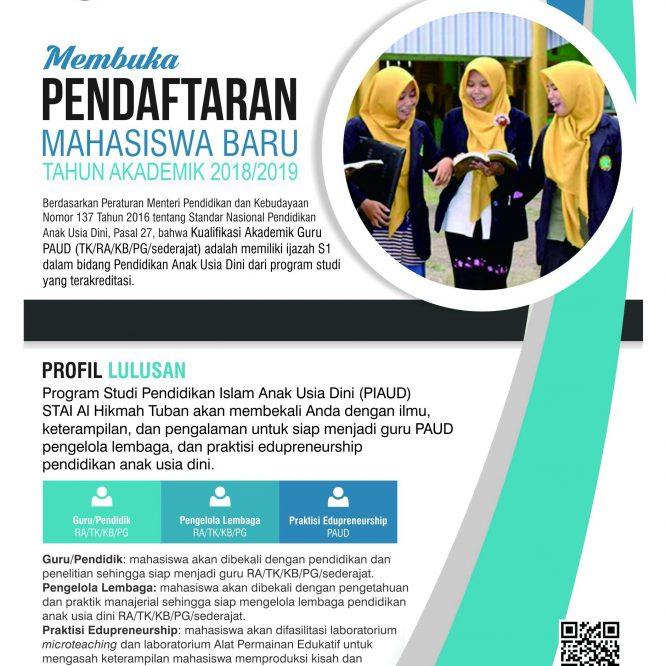 Penerimaan Mahasiswa Baru Prodi PIAUD, Tahun Akademik 2018/2019